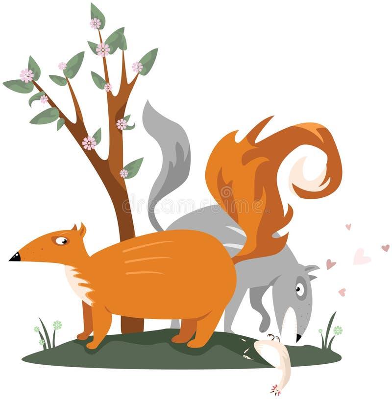 Räv- och Wolfdatummärkning royaltyfri illustrationer