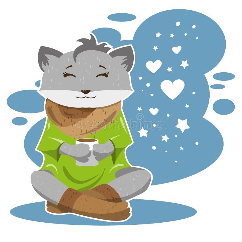 Räven i vinter och förkylning dricker te eller kaffe och tänker om förälskelse royaltyfri illustrationer