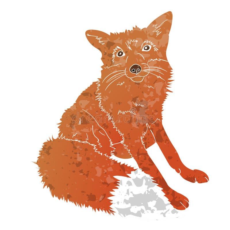 Räven isolerade texturized på vit bakgrund stock illustrationer