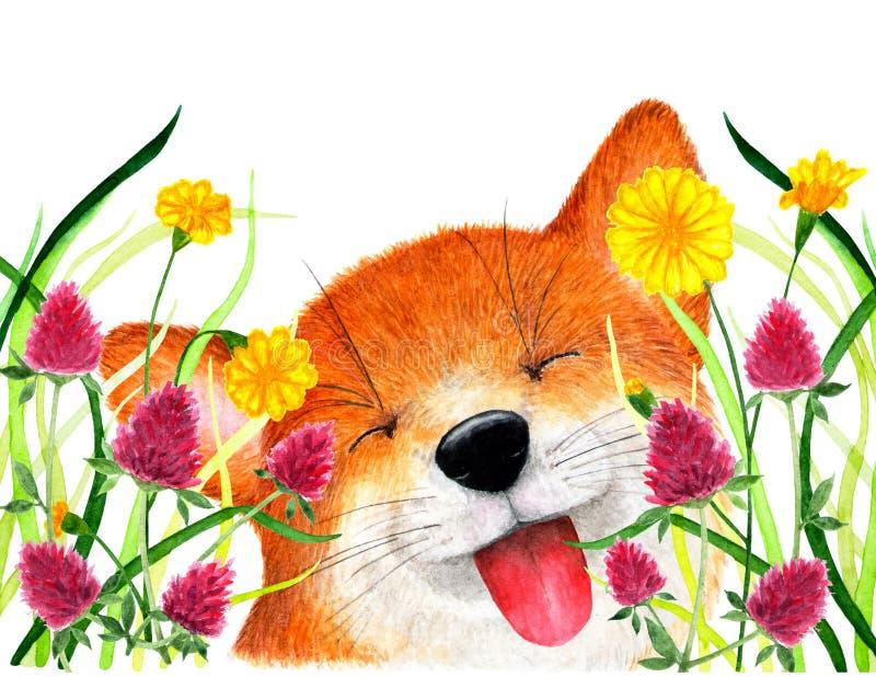 Räven sitter i gräset för flygillustration för näbb dekorativ bild dess paper stycksvalavattenfärg stock illustrationer