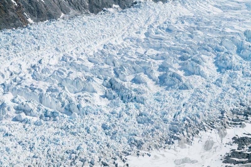 Rävglaciärslut upp helikoptersikt arkivfoton