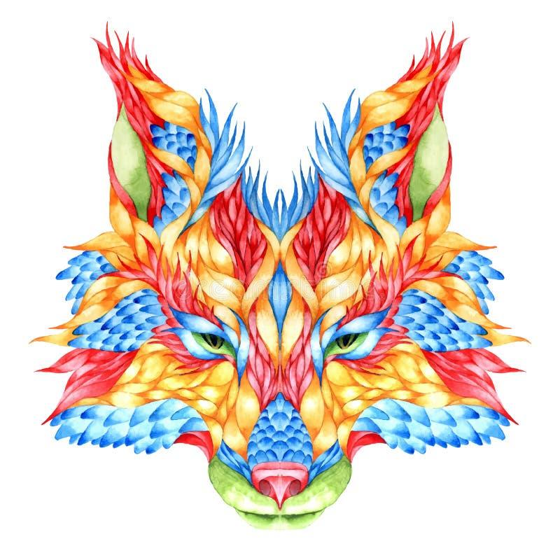 RÄVhuvudtatuering psychedelic royaltyfri illustrationer