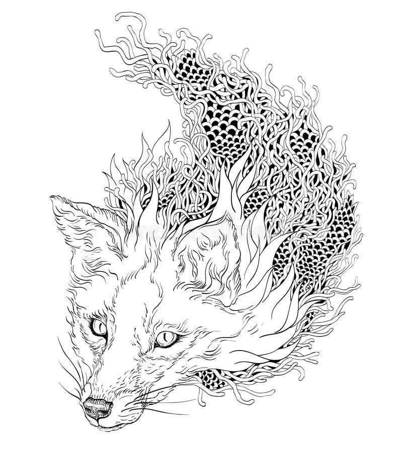 RÄVhuvudtatuering psychedelic Zentangle stock illustrationer