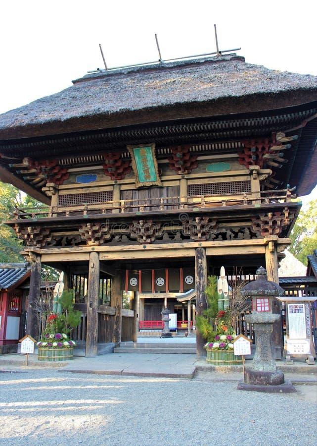 Rōmon gate of Aoi Aso Shrine in Japan. The two-storied Rōmon gate of Aoi Aso Shrine is listed as National Treasures of Japan - Hitoyoshi, Kumamoto, Japan stock photo