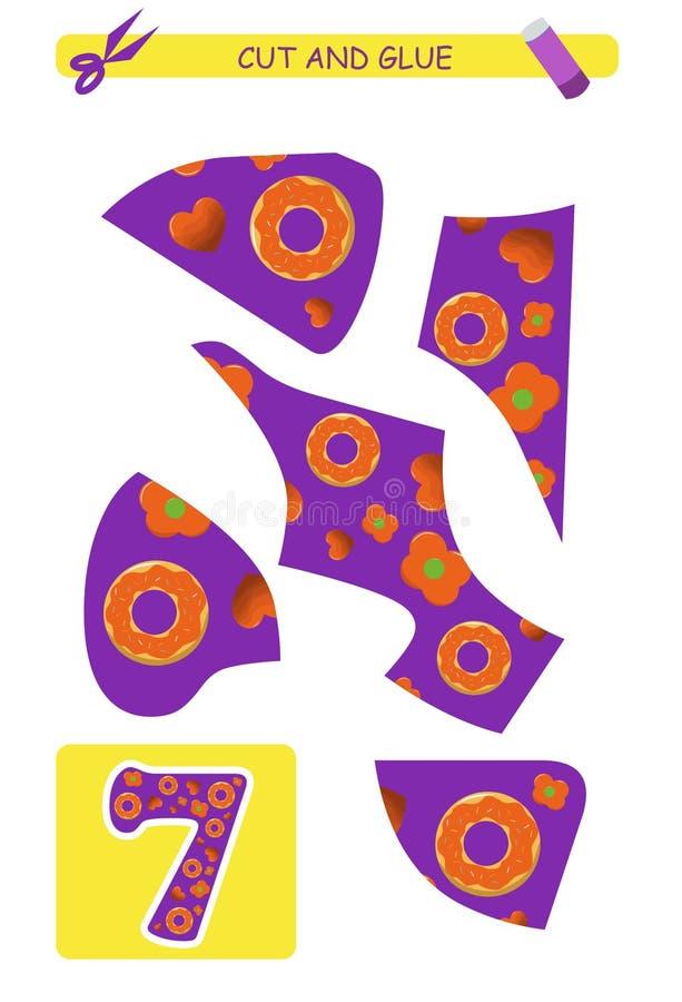 Rżnięty i kleidło worksheet: liczba 7 Edukacyjna gra dla dzieciaków uczenie liczby ilustracja wektor