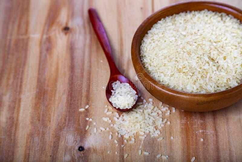 Rå ångade ris i en bunke och en sked royaltyfria bilder