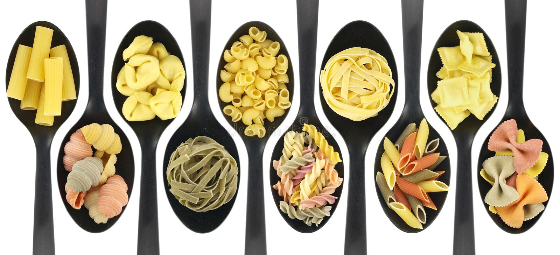 rå diverse pasta royaltyfri foto