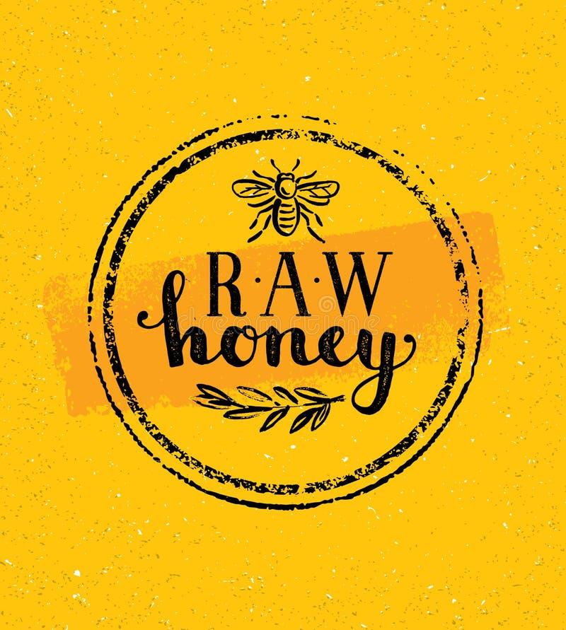 Rå Honey Creative Sign Vector Concept Organisk sund matdesignbeståndsdel med bisymbolen på nedfläckad bakgrund för buse royaltyfri illustrationer