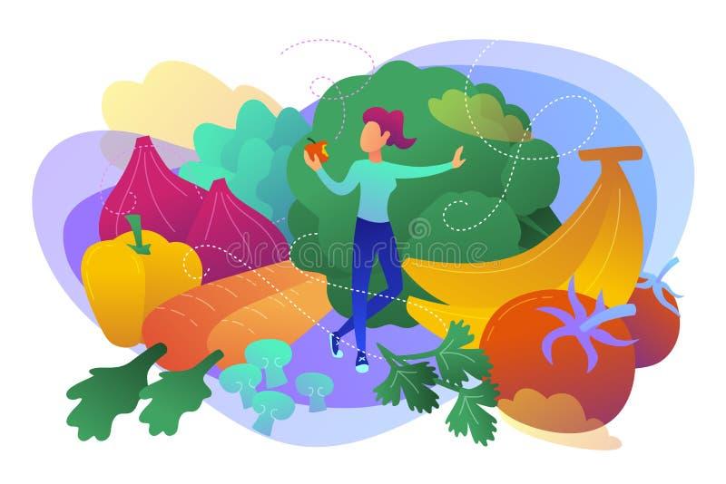 Rå illustration för veganismbegreppsvektor vektor illustrationer