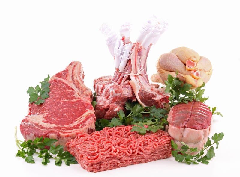 rå isolerade meats royaltyfri bild