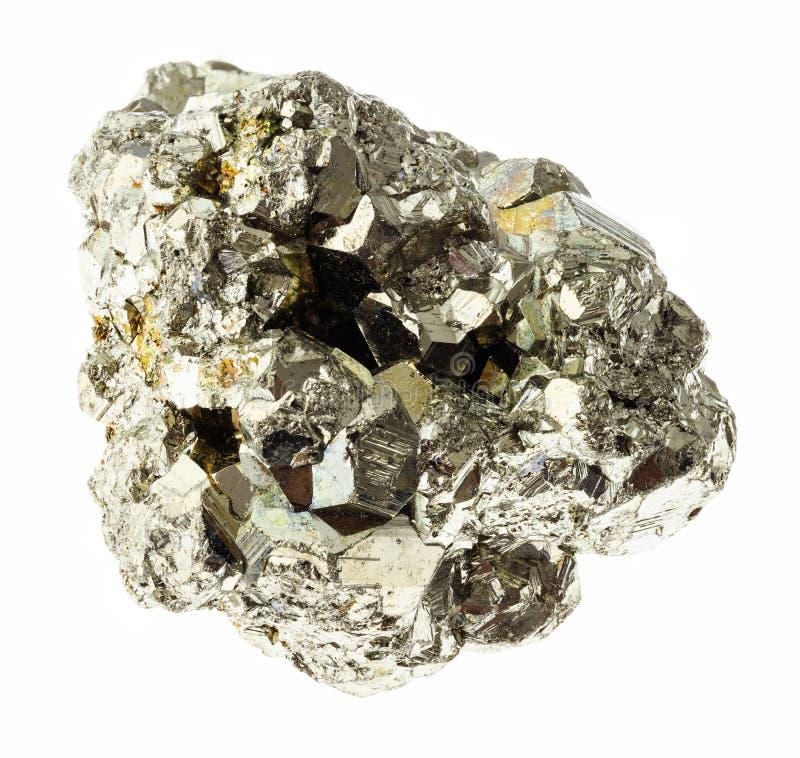 rå järnpyrit (svavelpyrit) vaggar på vit arkivfoton