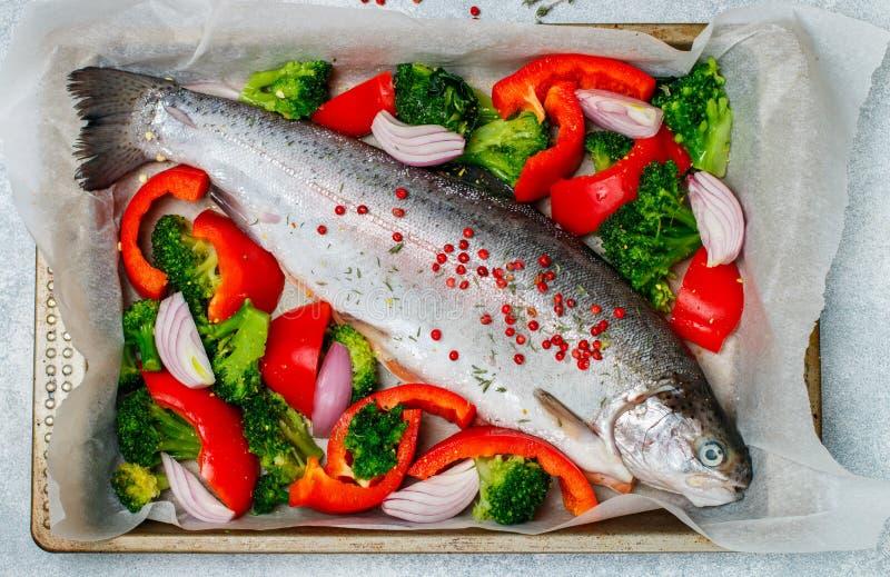 Rå ny hel fisklax, forell med grönsaker royaltyfria foton