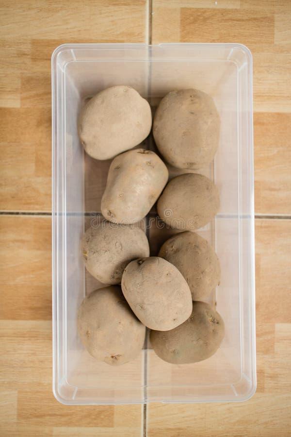 Rå potatisar i en plast- behållare på golv royaltyfria foton