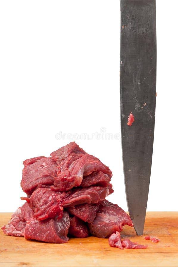 rå slaktareknivmeat royaltyfri foto