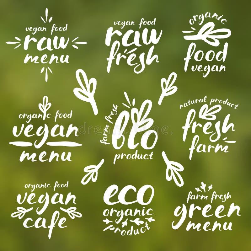 Rå strikt vegetarianetiketter och emblem vektor illustrationer