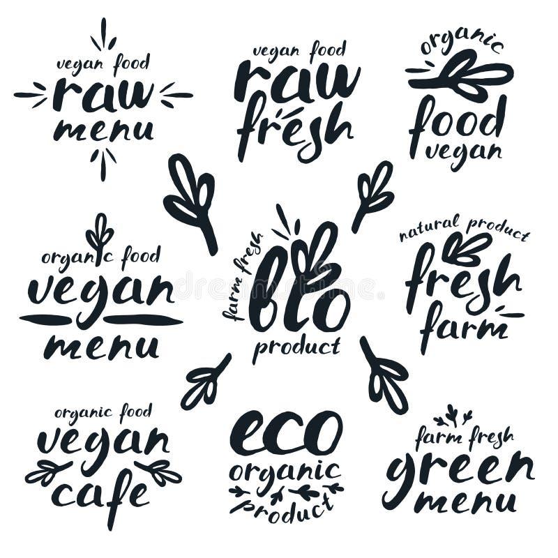 Rå strikt vegetarianetiketter och emblem stock illustrationer
