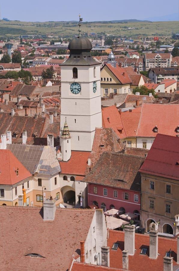 rådromania sibiu torn fotografering för bildbyråer