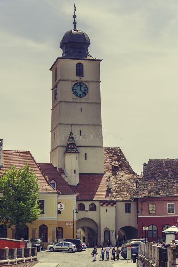Rådtornet i den lilla fyrkanten, Sibiu, Rumänien arkivbilder