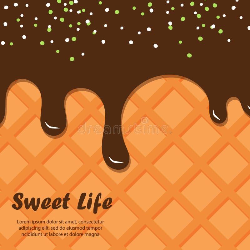 Rån- och chokladvektorbakgrund Glassbakgrund royaltyfri illustrationer