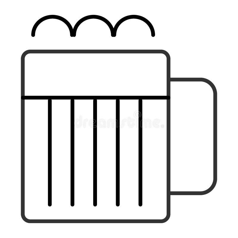 Råna av den tunna linjen symbol för öl Tillbringare av öl med illustrationen för skumpinnevektor som isoleras på vit Exponeringsg vektor illustrationer