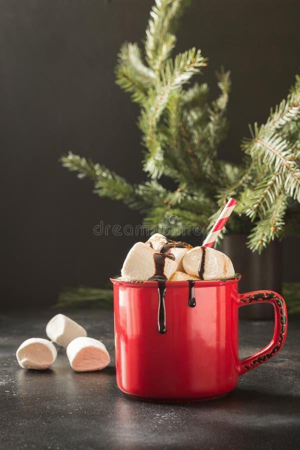 Råna av varm choklad och kakao med marshmallower med julträdfilialer på svart bräde Xmas-ferie fotografering för bildbyråer