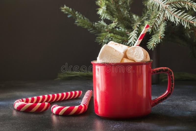 Råna av varm choklad och kakao med marshmallower med julträdfilialer på svart bräde Xmas-ferie royaltyfri fotografi