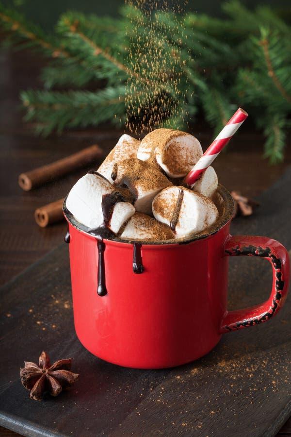 Råna av varm choklad och kakao med marshmallower med julträdfilialer på träbräde Xmas-ferie royaltyfri foto