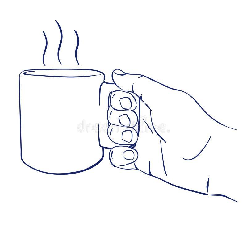 Råna med varmt te i hand stock illustrationer