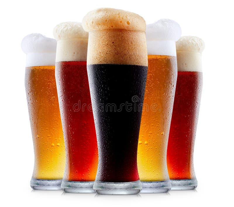 Råna samlingen av frostigt öl med skum royaltyfri foto