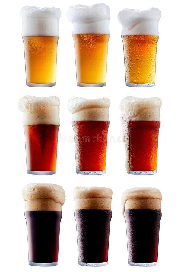 Råna samlingen av frostigt öl med skum arkivfoto