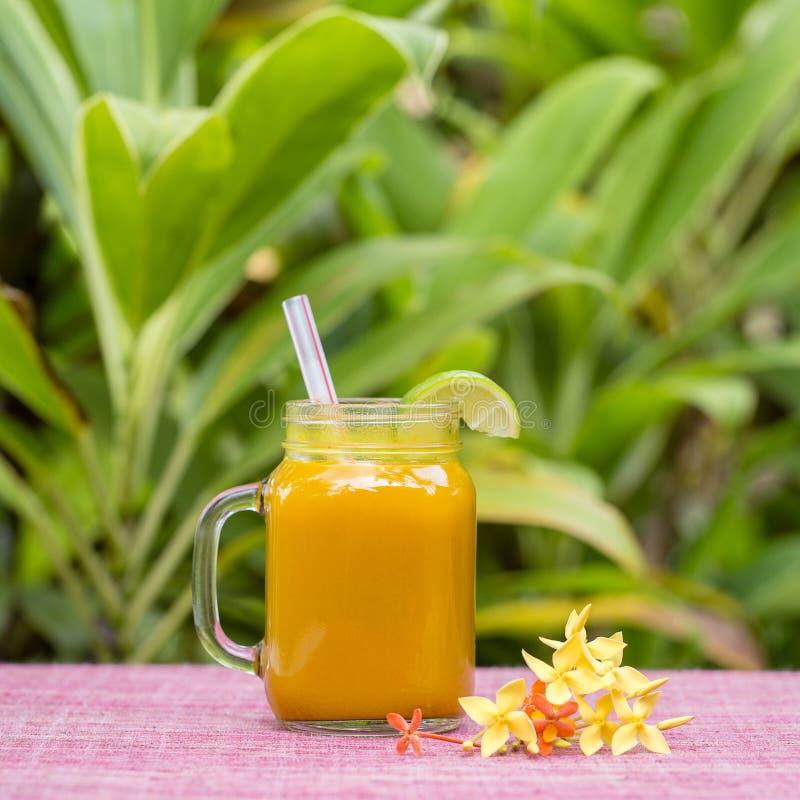 Rånar den stärkande drinken för energi med gurkmeja, ingefäran, citronen och honung i exponeringsglas, naturbakgrund royaltyfri bild