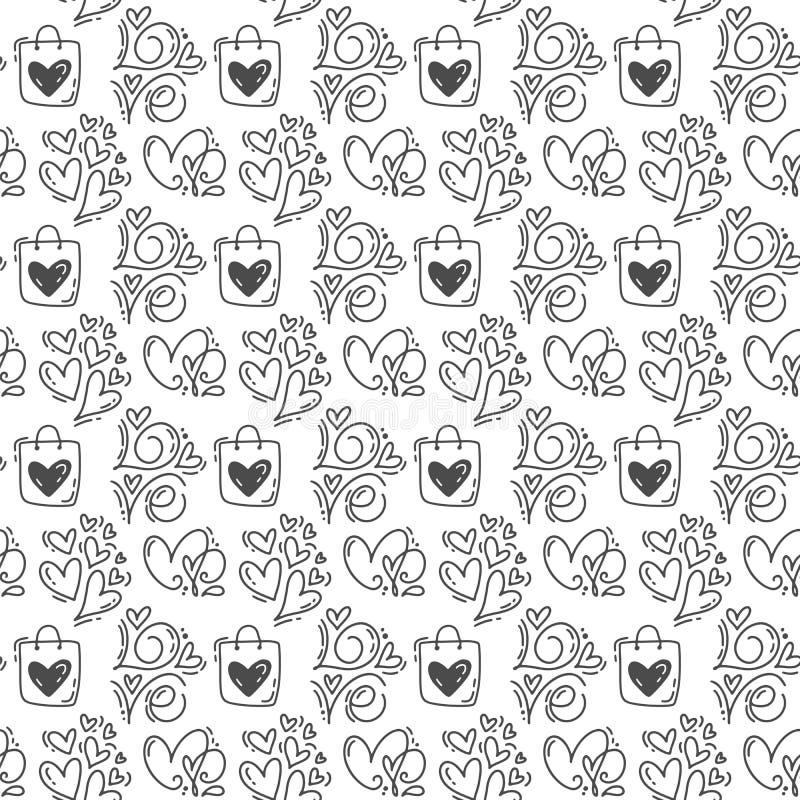 Rånar den utdragna gulliga valentindagen för handen hjärta- och förälskelsemodellbakgrund Sömlös vektorillustration för förälskel vektor illustrationer