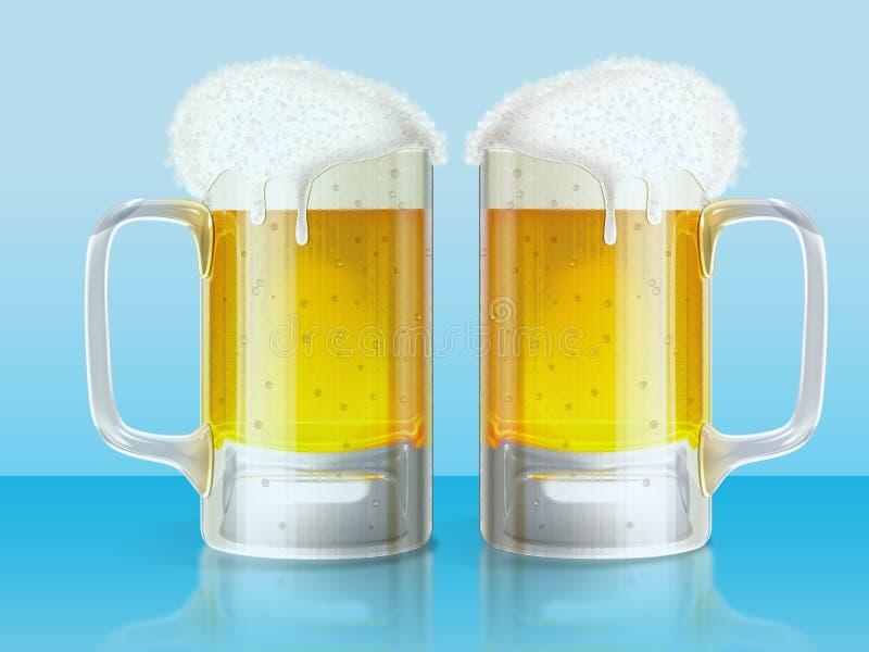 Rånar ljust öl två stock illustrationer