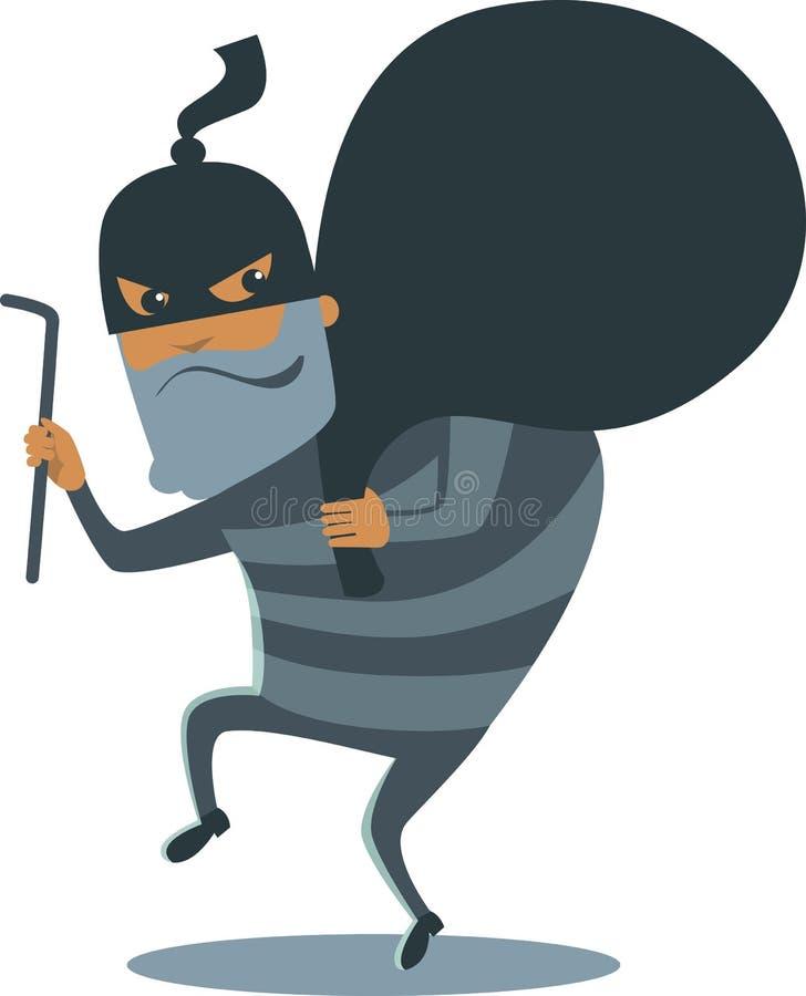 Rånare i maskering royaltyfri illustrationer