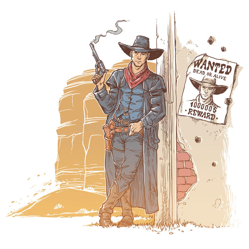 Rånare med ett röka vapen vektor illustrationer