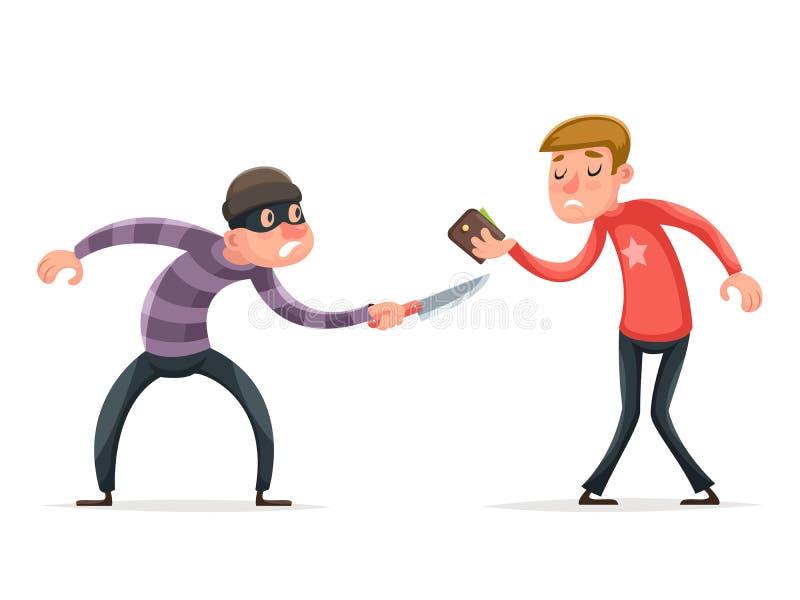 Rånareinbrottstjuvtjuv Robbery Steal Purse från hjälplös förskräckt Guy Character Icon Cartoon Design mallvektor stock illustrationer
