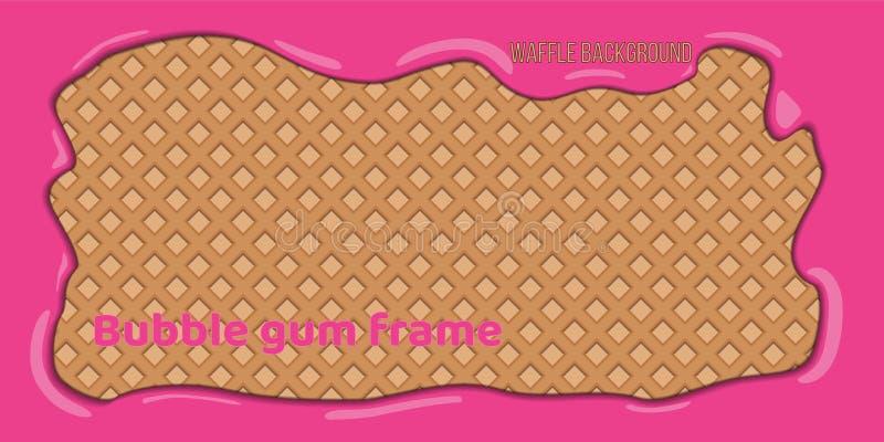 Rånbakgrund med den rosa bubbelgumramen royaltyfri illustrationer