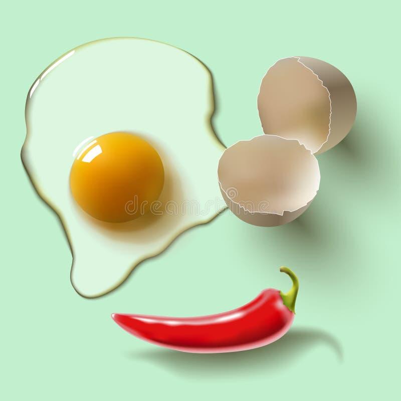 Rått ägg och peppar royaltyfri illustrationer