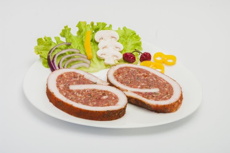 Rått griskött Meat Loaf med kryddor royaltyfria foton