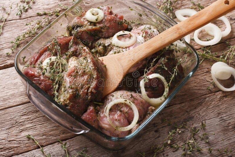 Rått kött i en grön marinad med lökar i en bunkecloseup Hori royaltyfria bilder