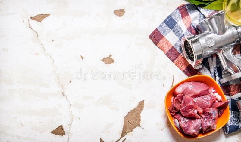 Rått kött med en handmolar på tyget arkivfoto