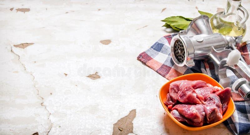 Rått kött med en handmolar på tyget arkivbilder