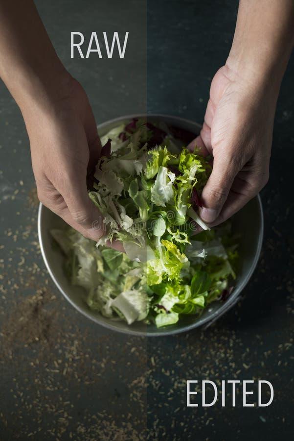 Rått och redigerat foto av en man som förbereder mat royaltyfri fotografi