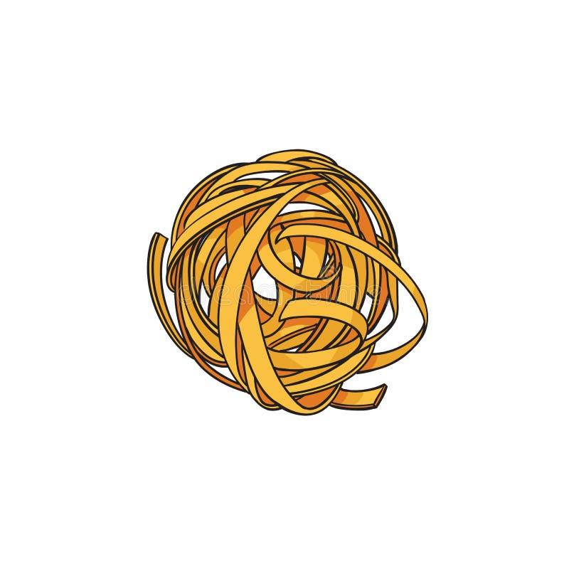 Rått okokt rullat ihop, rede formad italiensk pasta vektor illustrationer