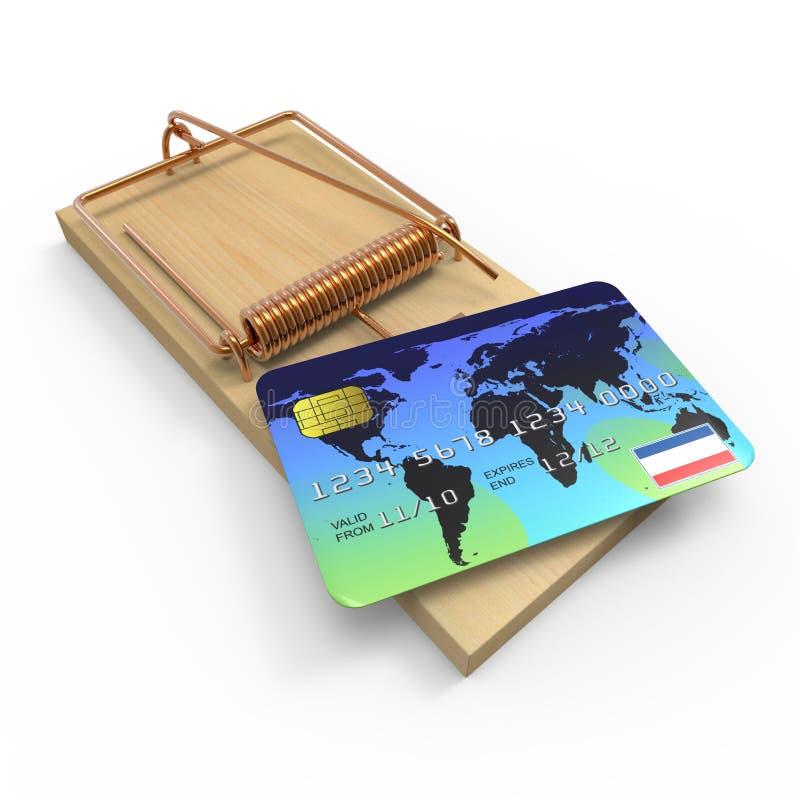 råttfälla för kreditkort 3d vektor illustrationer