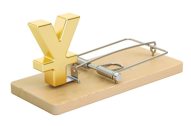 Råttfälla med yen- eller yuantecknet, tolkning 3D stock illustrationer