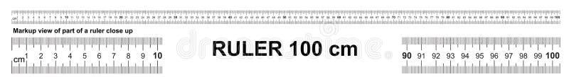 Règle 100 cm Outil de mesure précis Échelle de règle 1 mètre Grille de règle 1000 millimètres Indicateurs métriques de taille de  illustration stock