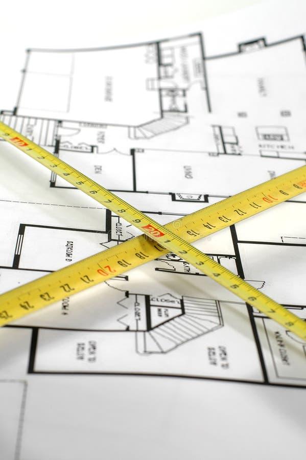 Règle de pliage et plan architectural image libre de droits