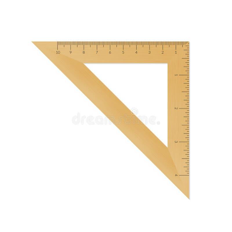 Règle en bois de triangle isocèle illustration libre de droits