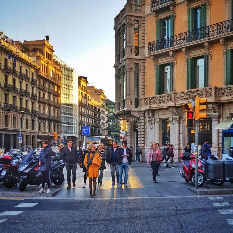 Règle orange à Barcelone photos libres de droits